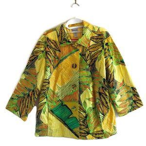 Chico's Blazer Yellow Tropical Print Sz 3 (XL)